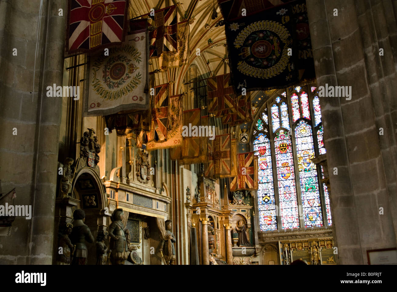 Battle Honours laid up in Canterbury Cathedral Canterbury Kent England Great Britain - Stock Image