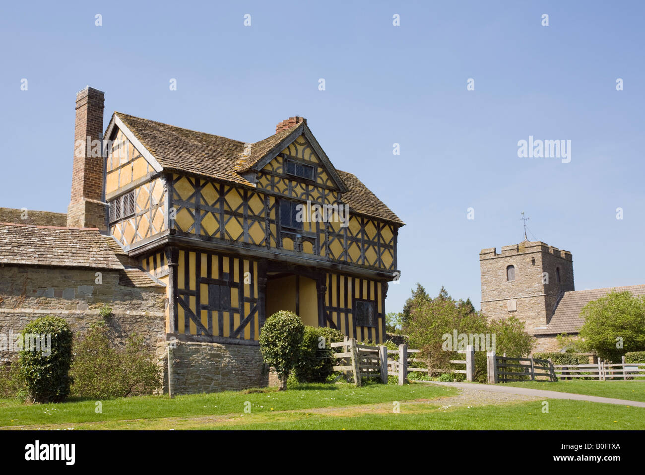 Stokesay Castle 13th century fortified manor house with 17th century Jacobean gatehouse Craven Arms Shropshire West - Stock Image