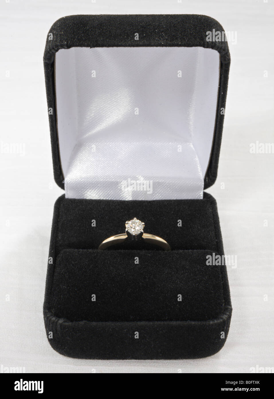 diamond solitaire ring in box - Stock Image