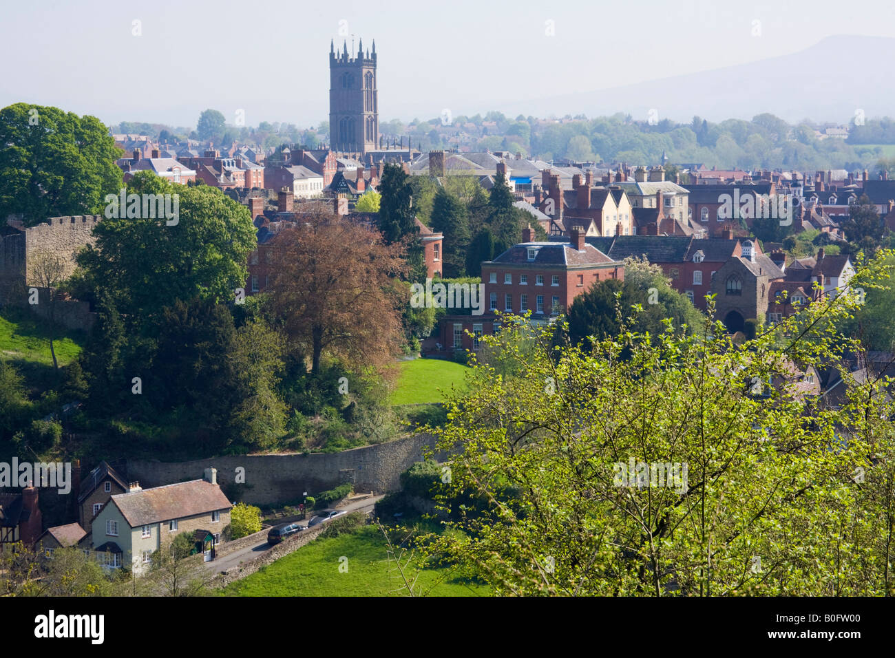 Overview of old town buildings with St Laurence's church tower. Ludlow Shropshire West Midlands England UK Britain - Stock Image