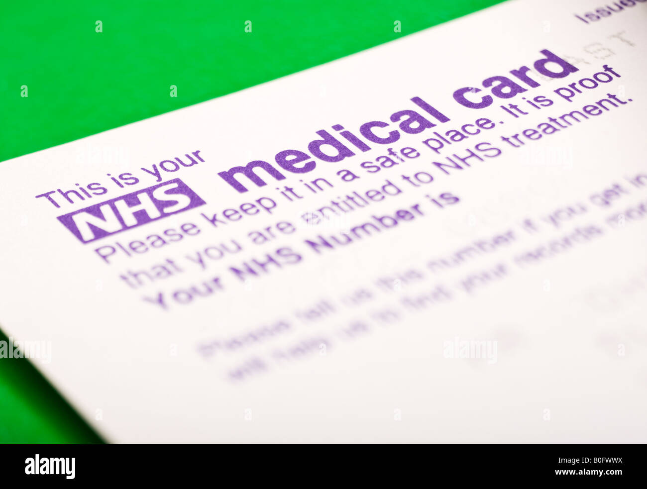 UK NHS Number Medical Card - Stock Image