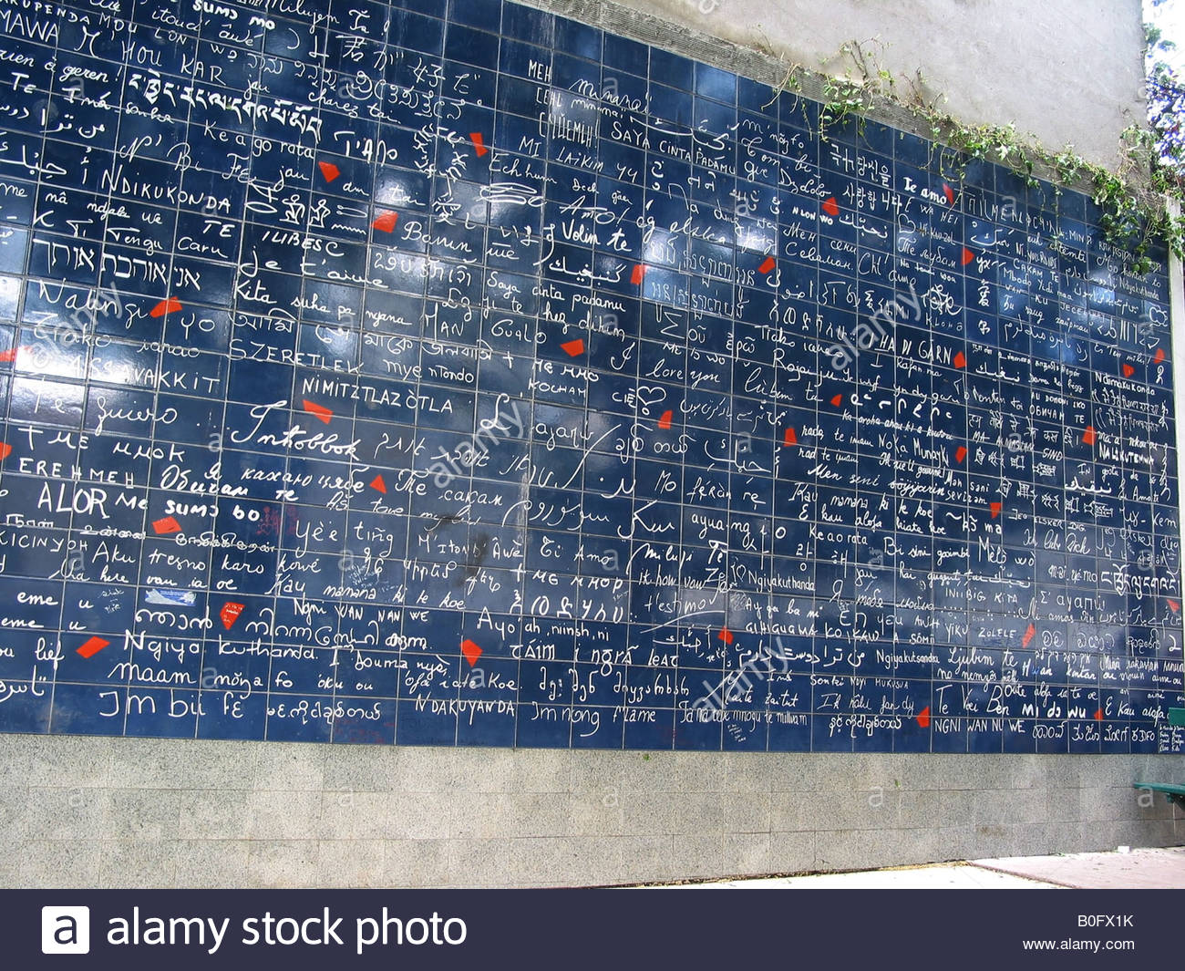 detail of Le Mur Bleu, wall of I love you's Place des Abbesses Paris France (no people) - Stock Image