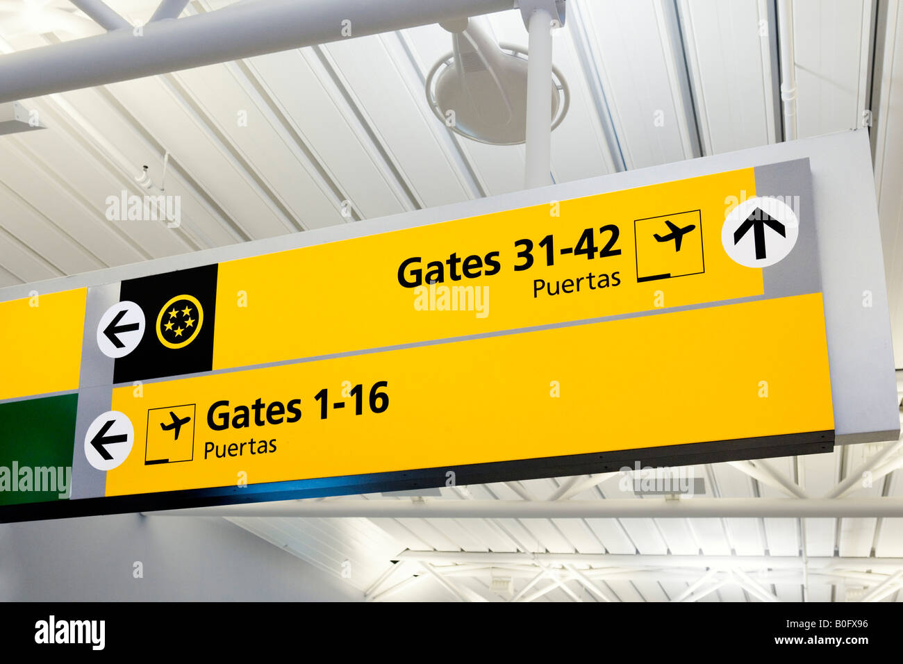 Signs for Departure Gates in American Airlines Terminal 8, JFK Airport, New York - Stock Image