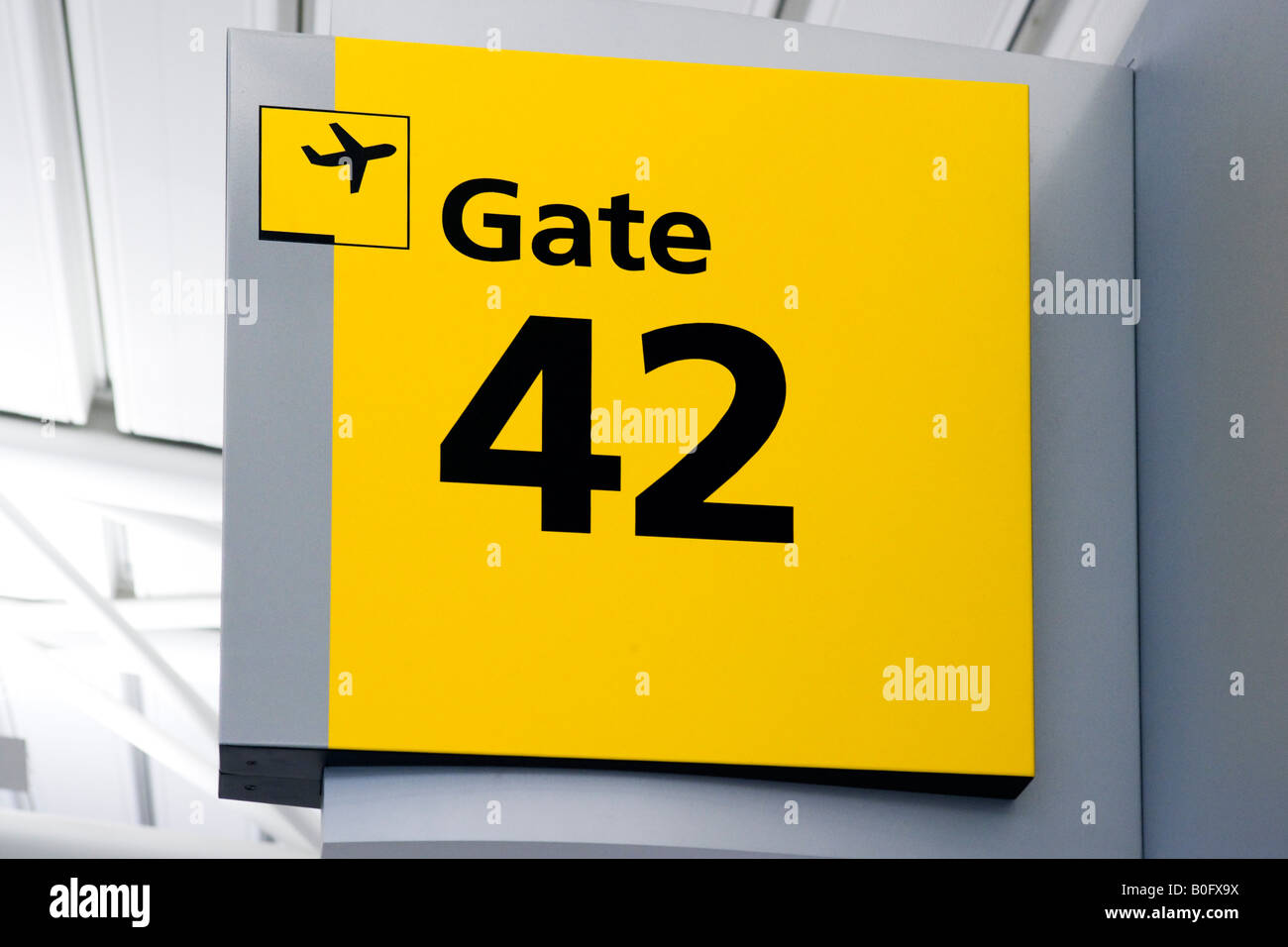 Signs for Departure Gate in American Airlines Terminal 8, JFK Airport, New York - Stock Image