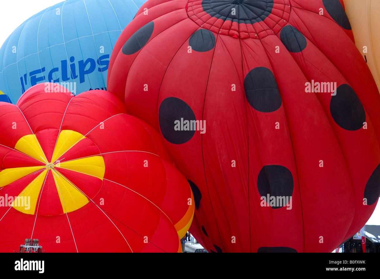 International Hotair Ballon Festival in Chateu d Oex Vaud Schweiz Stock Photo