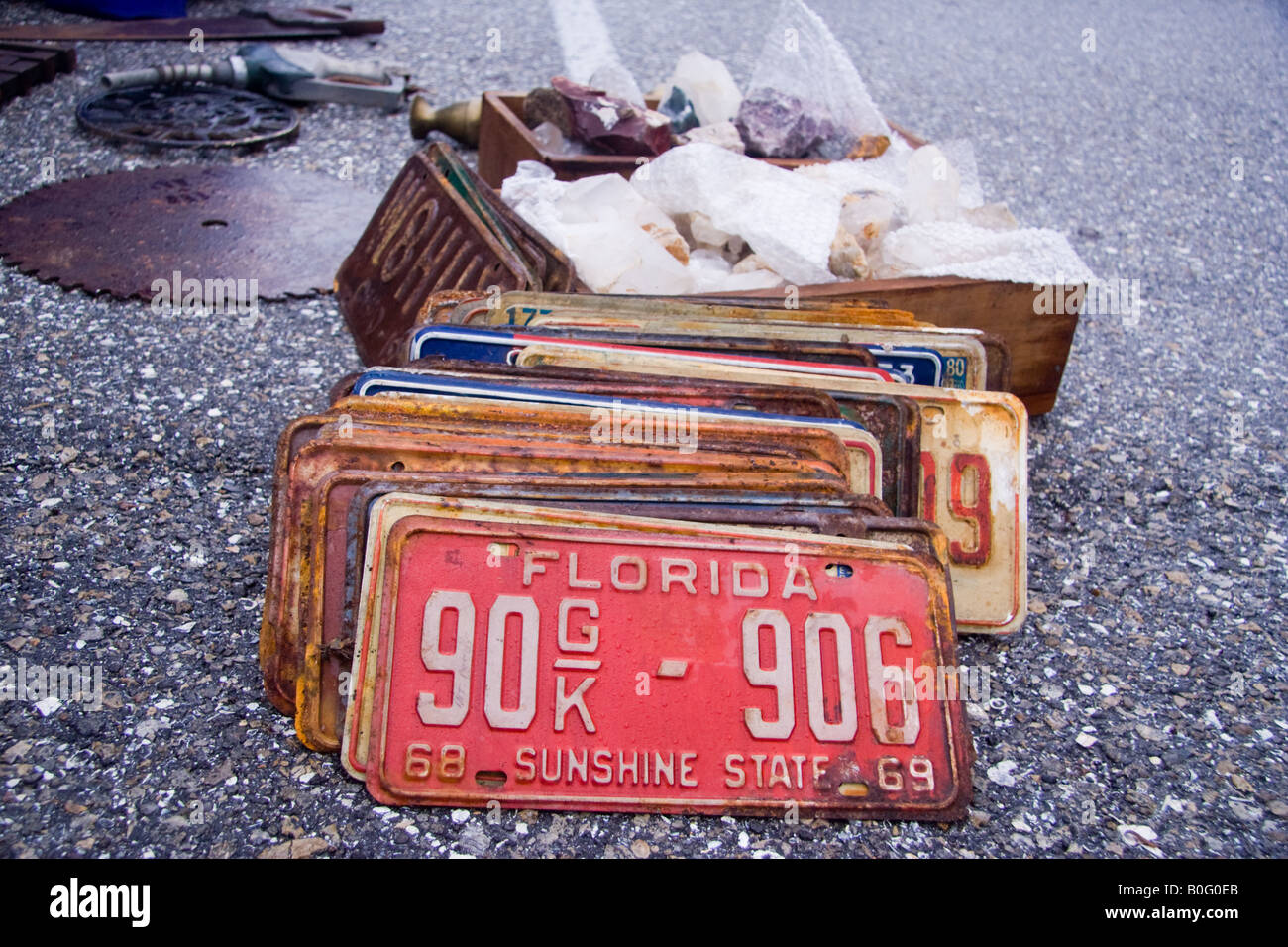 Old license plates are collectible at the flea market - Stock Image