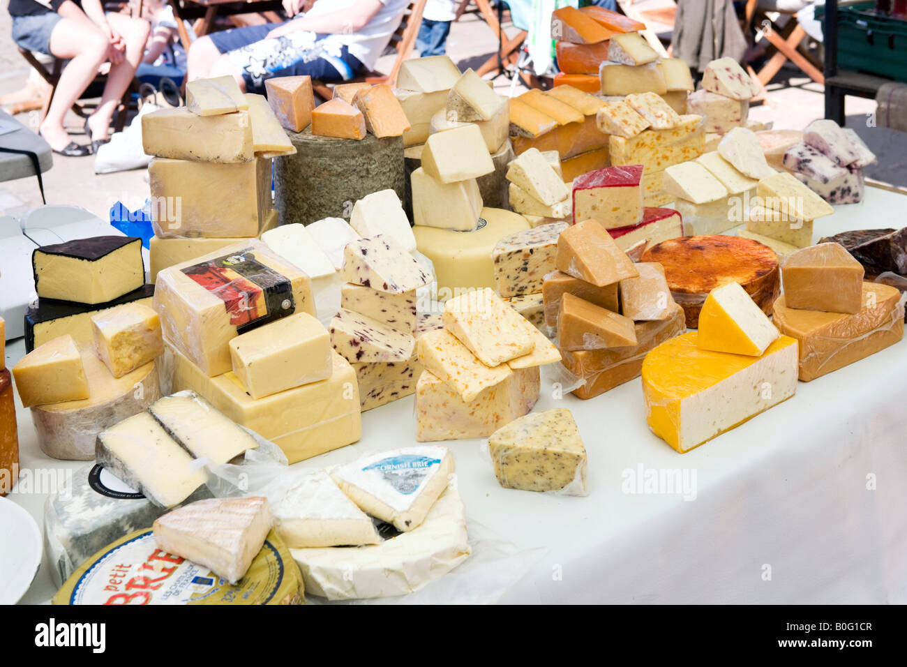 Selection of cheese at local produce market, Whitby, East Coast, North Yorkshire, England, United Kingdom - Stock Image