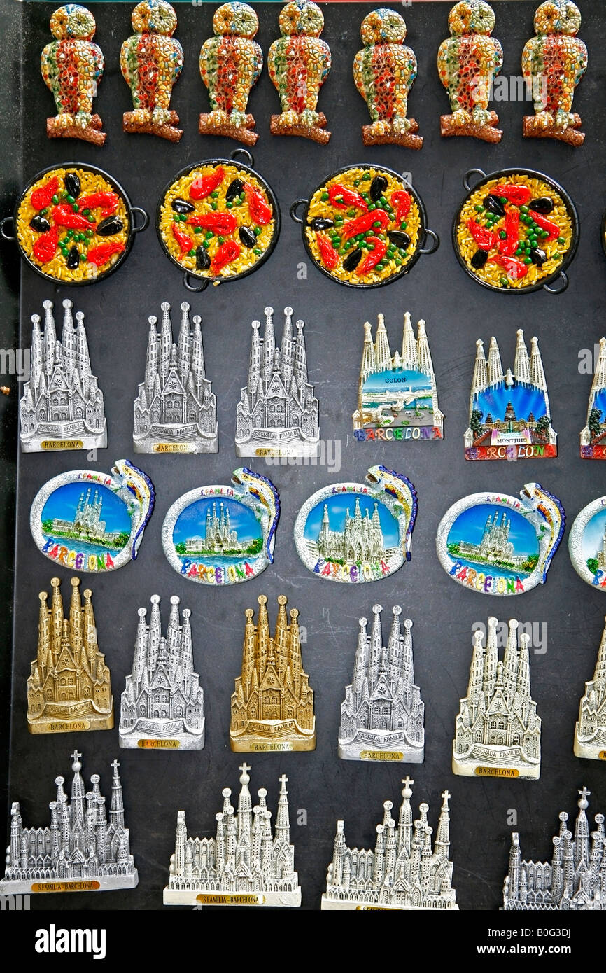 magnets souvenirs rambla de las flores barcelona catalonia spain stock photo 17564334 alamy. Black Bedroom Furniture Sets. Home Design Ideas