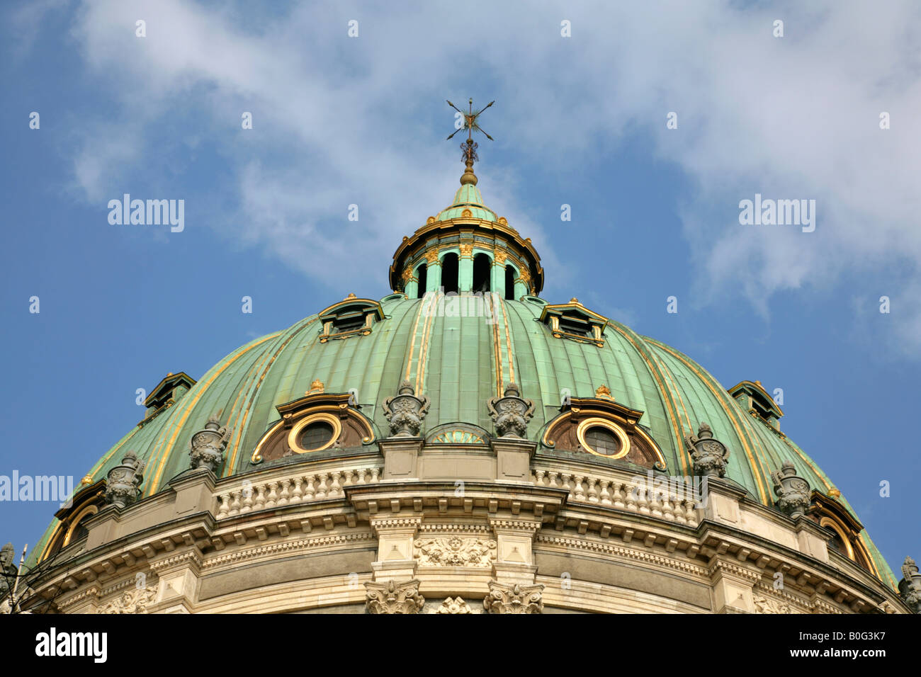 The dome of Frederikskirken, or Marmorkirken, or Marble Church, Copenhagen, Denmark - Stock Image