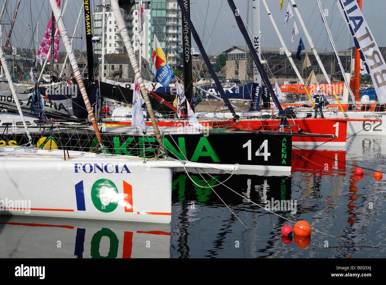 Racing yachts moored in Sutton Harbour, Plymouth, UK, before the 2008 Transat transatlantic race Stock Photo
