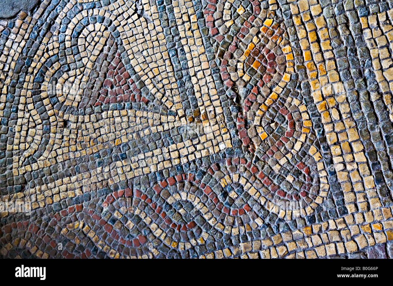 Roman floor mosaic discovered at Caerwent Wales UK - Stock Image