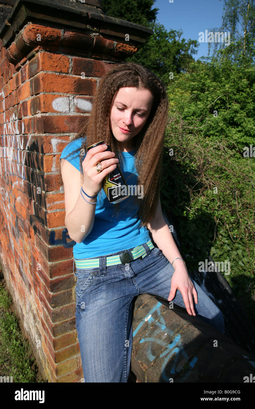 Anti Social Behaviour Girl Drinking Alcohol Stock Photo