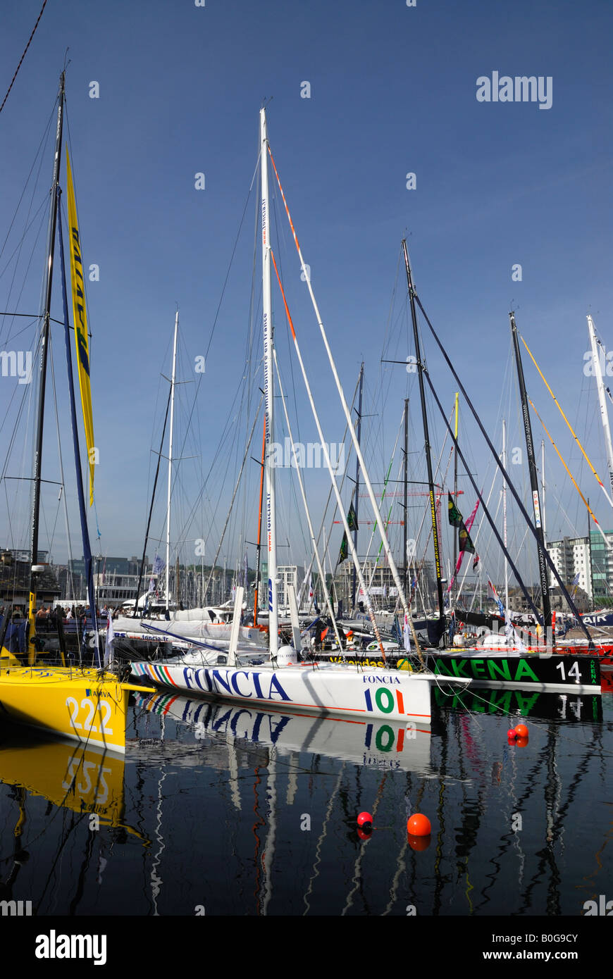 Racing yachts moored in Plymouth, UK, before the start of the 2008 Transat transatlantic race Stock Photo
