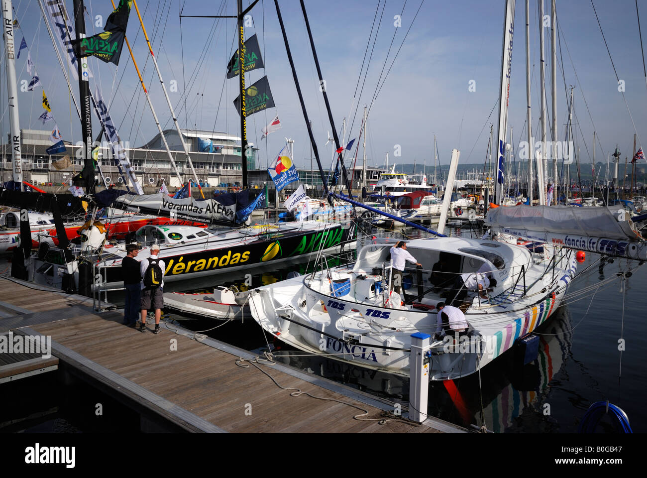Racing yachts moored in Plymouth, UK, before the start of the Transat 2008 transatlantic race Stock Photo