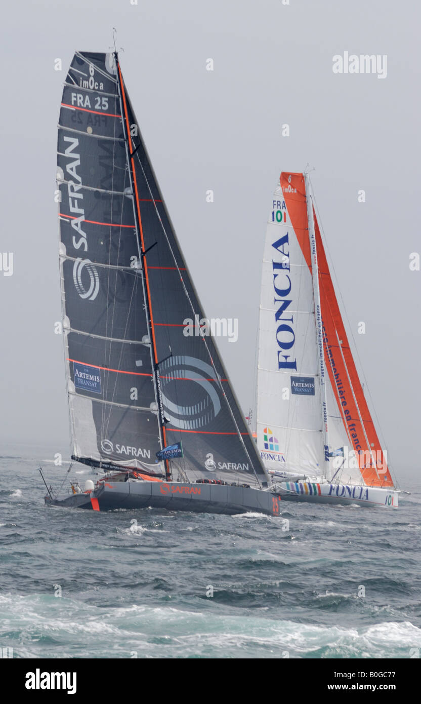 Racing yachts Foncia and Safran at the start of the 2008 Transat transatlantic yacht race in Plymouth Stock Photo