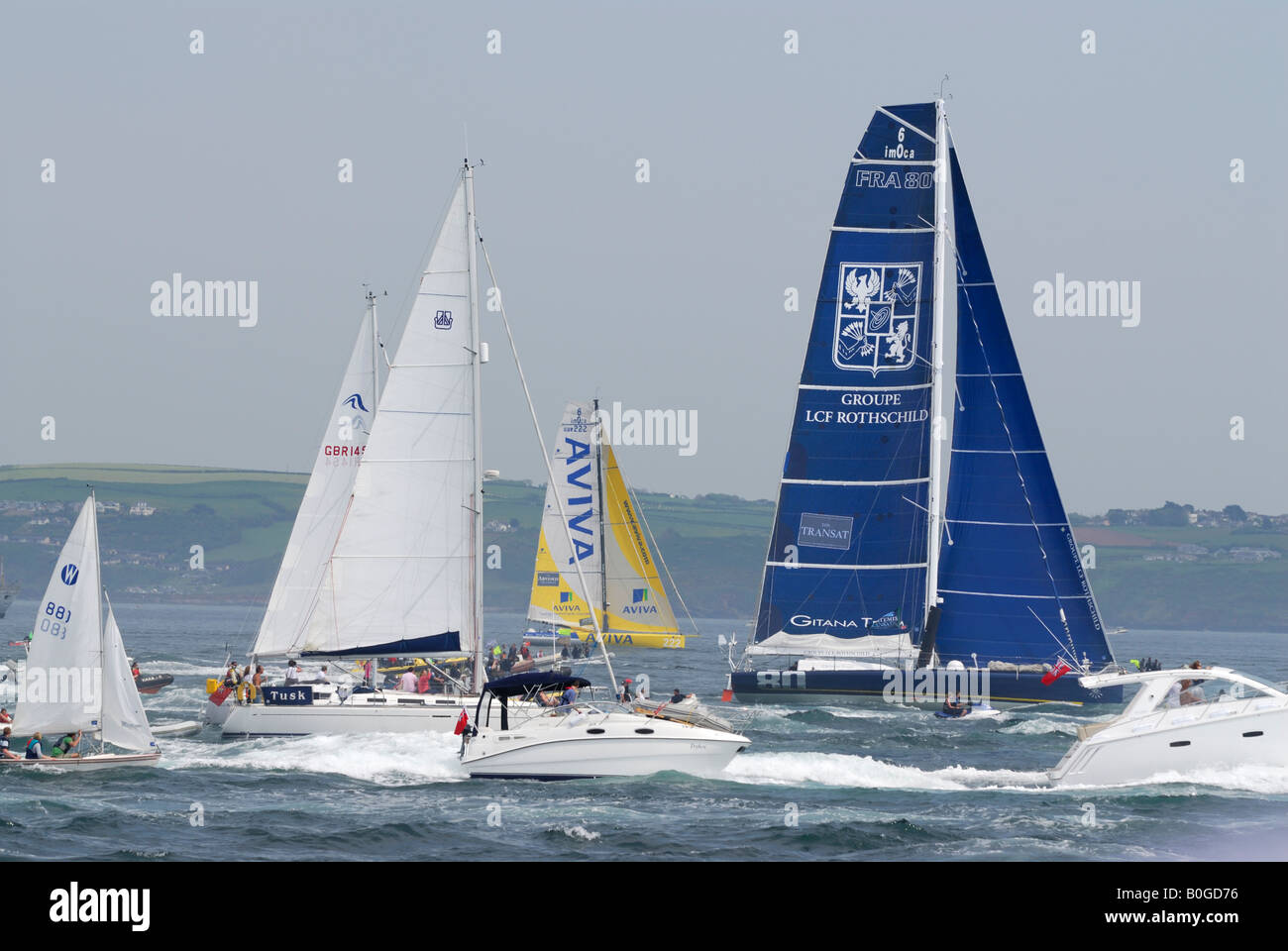 Yachts in Plymouth Harbour at the start of the 2008 Transat transatlantic race Stock Photo