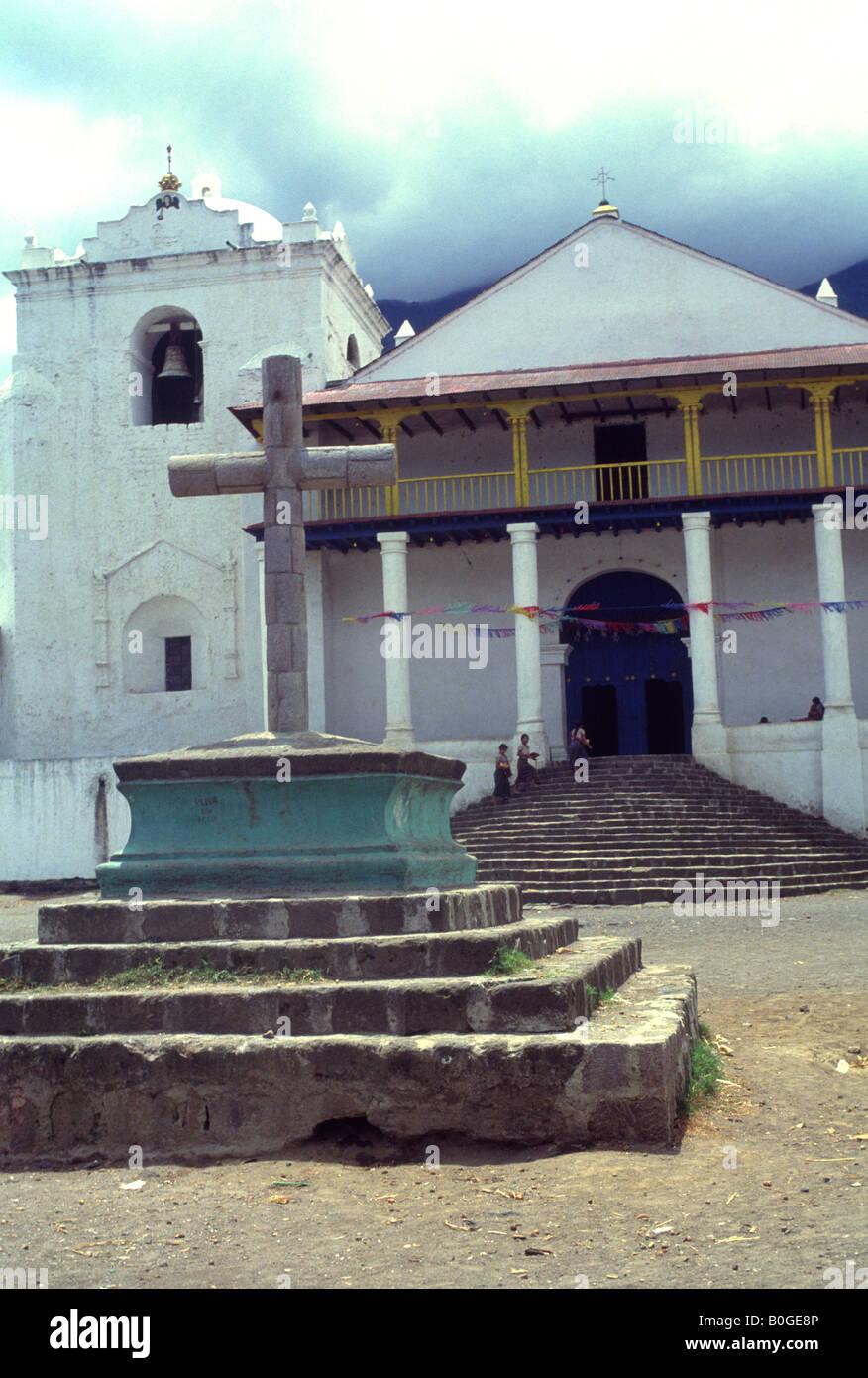 Village square and church, Santiago Atitlan village, Guatemala - Stock Image
