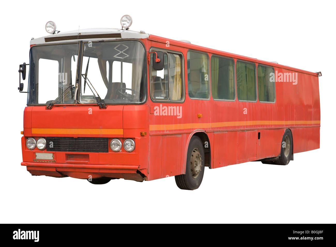 Old red bus over white - Stock Image