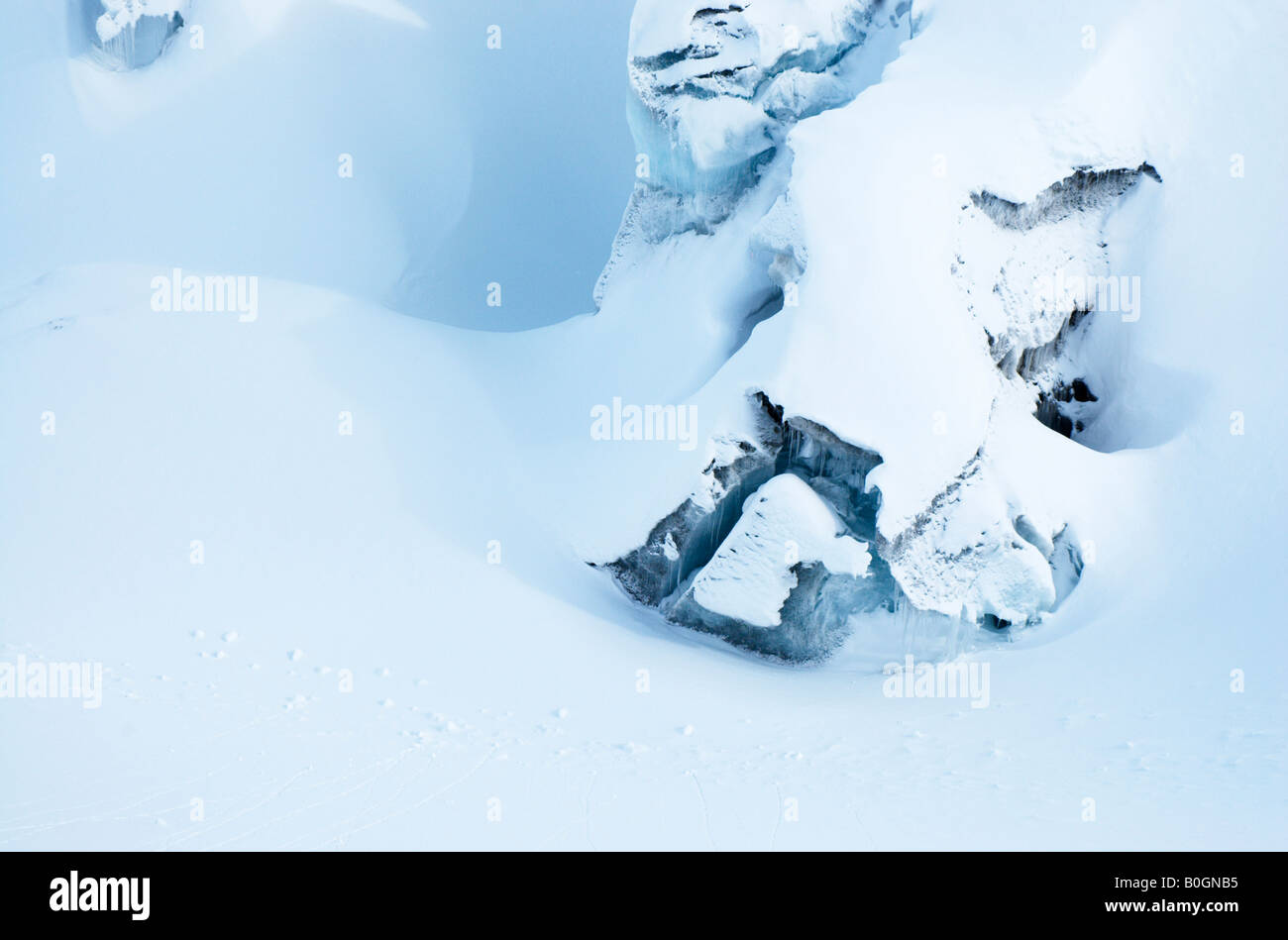 Fresh snow hiding the menacing crevasses on Argentiere glacier, Chamonix, France - Stock Image