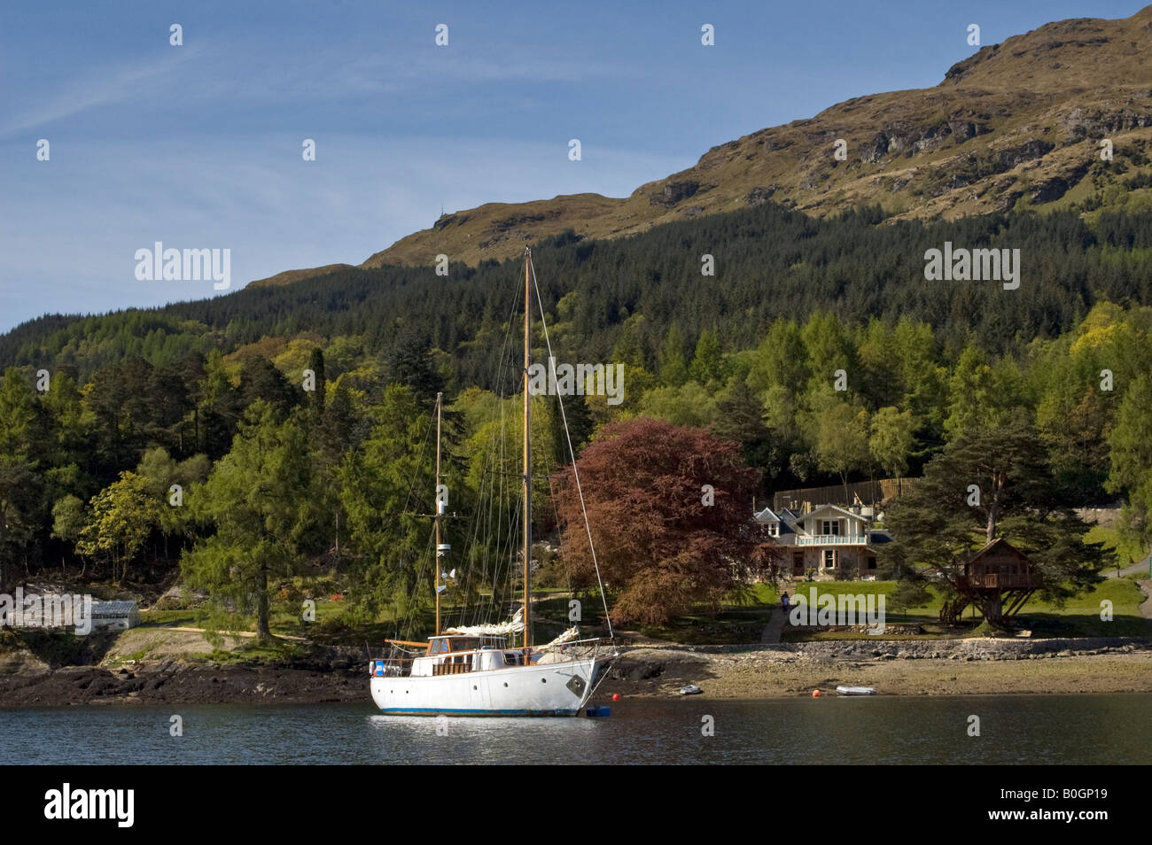 Sailing yacht on a mooring in Loch Goil, Argyll, Scotland UK Stock Photo