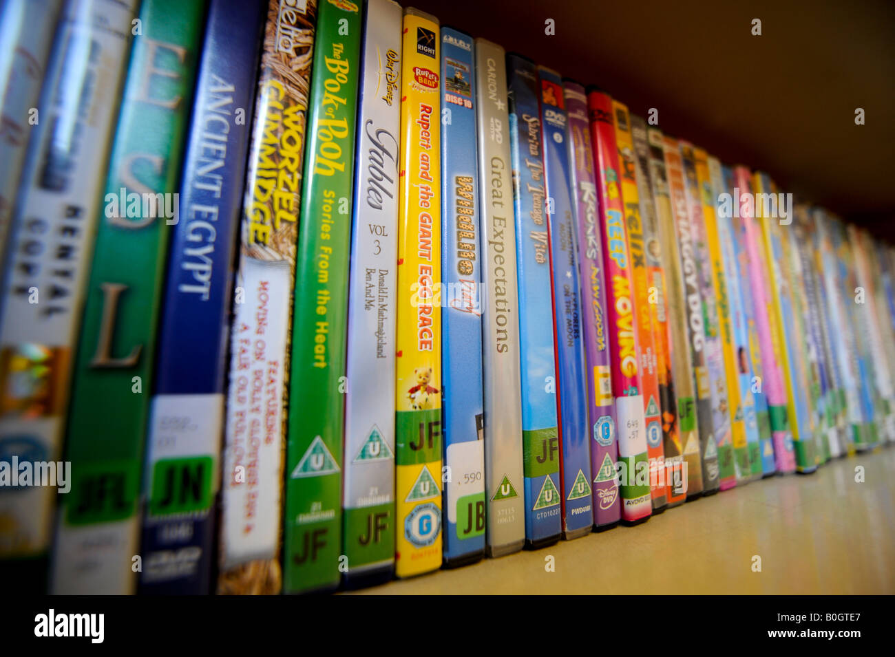 Public library: Children's DVD section,