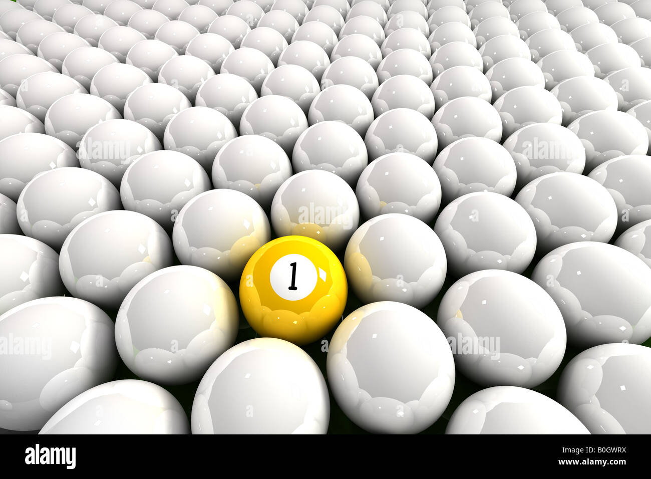 Yellow one ball surrounded by white billiard balls - Stock Image