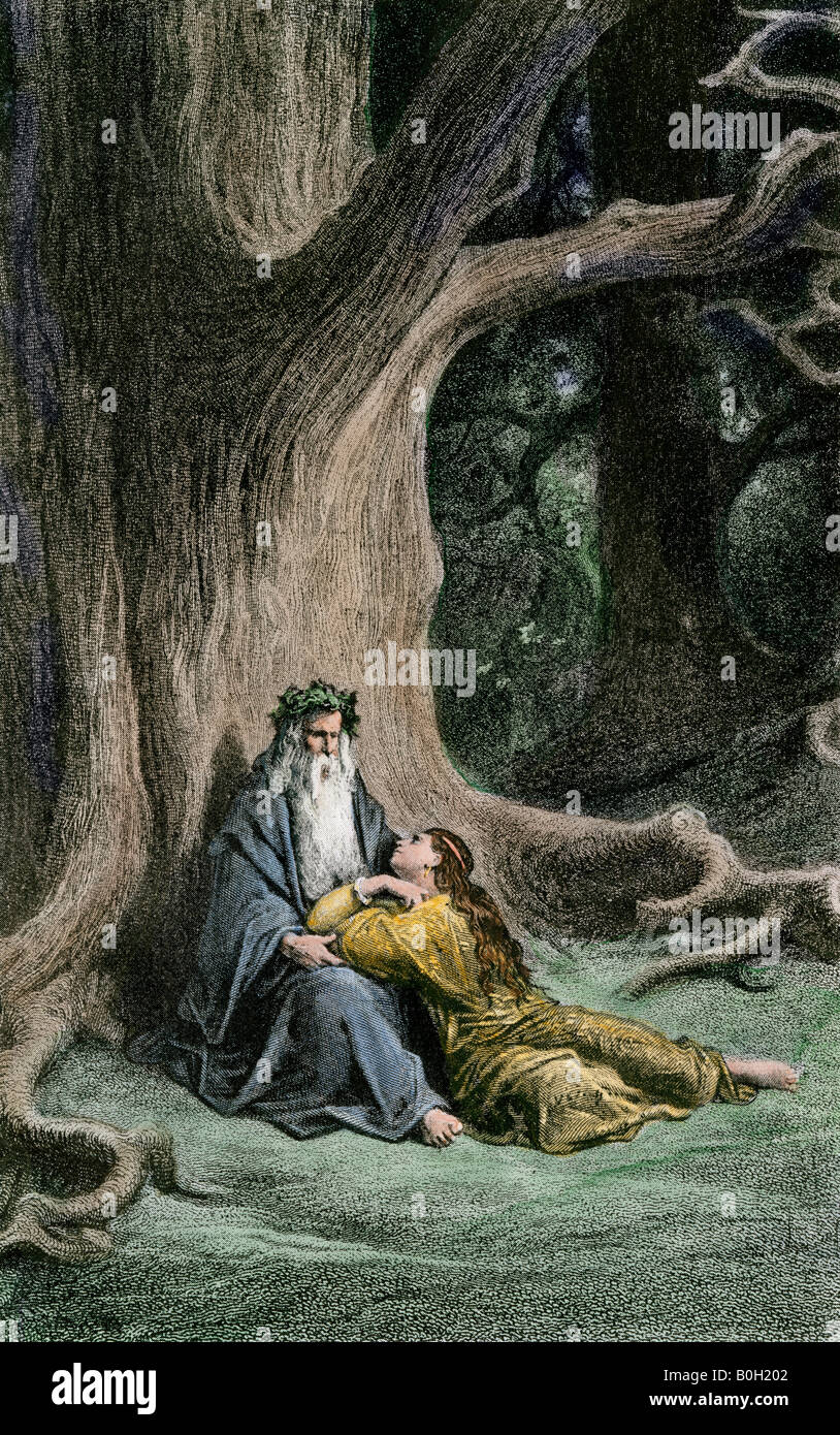 Merlin and Vivian in the forest from legends of King Arthur. Hand-colored woodcut of a Gustave Dore illustration - Stock Image
