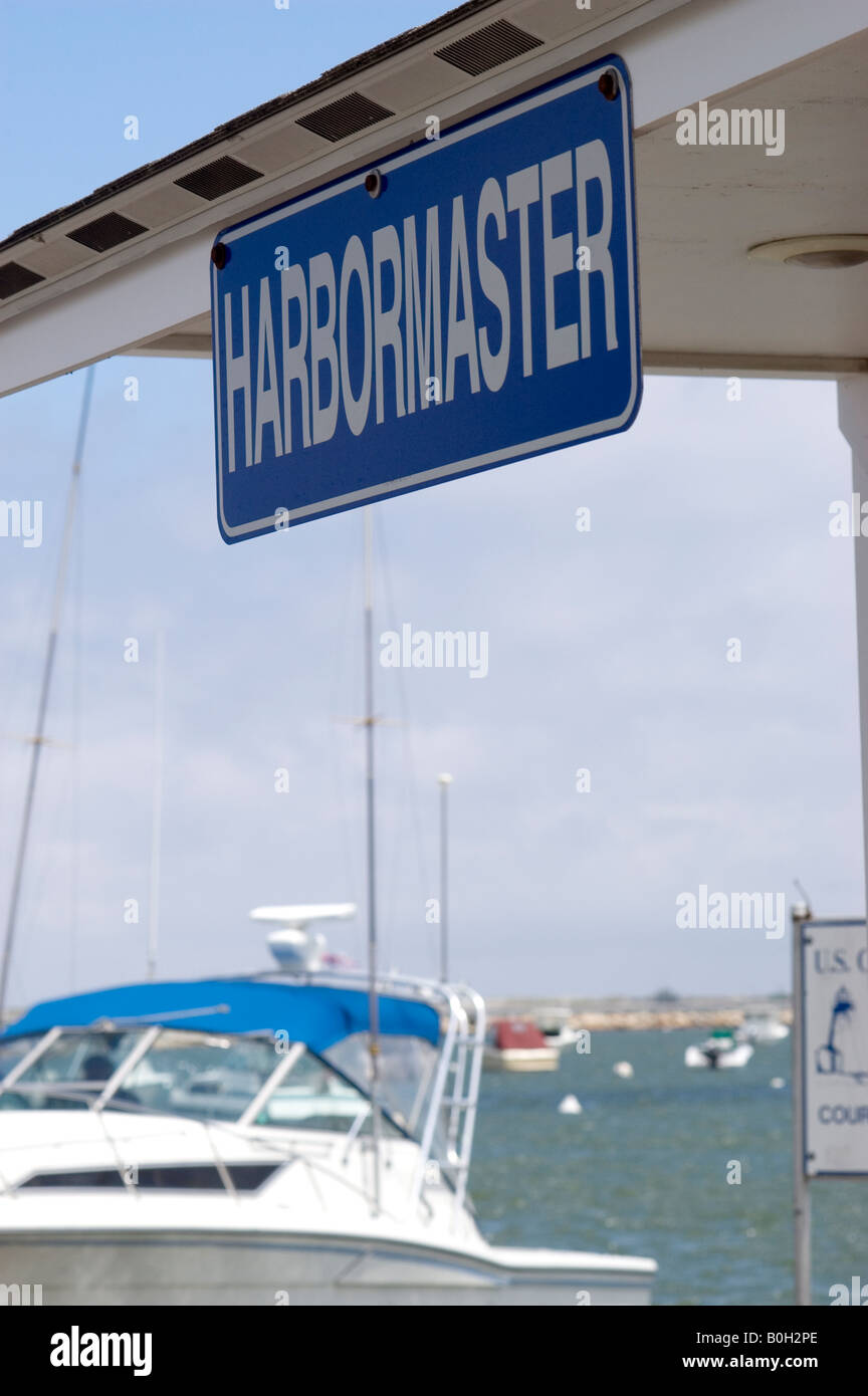 Harbormaster sign - Stock Image