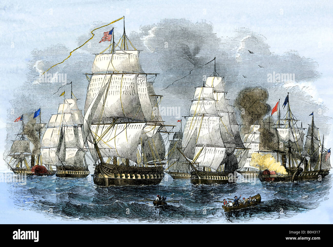US Navy squadron commanded by Matthew Perry sailing for Japan 1852. Hand-colored woodcut - Stock Image
