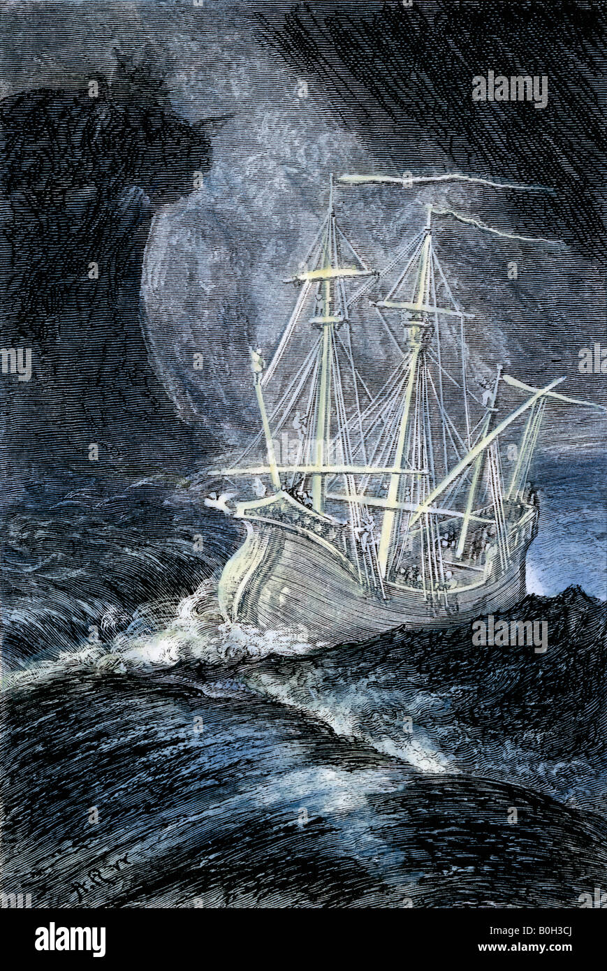 Ghost ship in a storm. Hand-colored woodcut - Stock Image