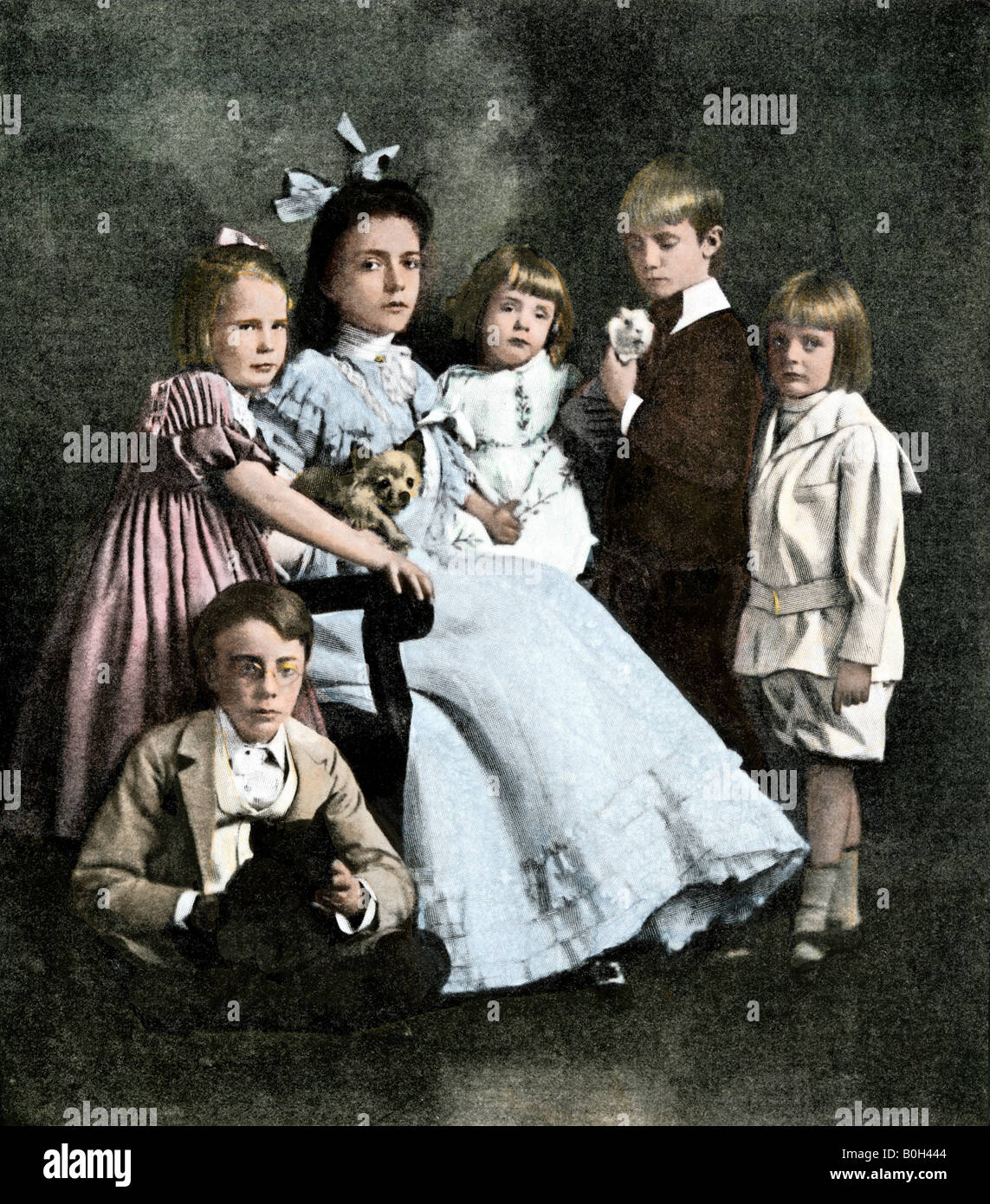 TEDDY ROOSEVELT /& FAMILY COLOR TINTED PHOTO
