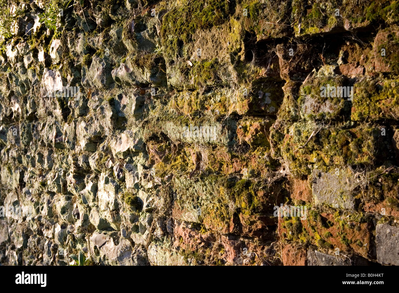 An old moss covered clay brick and flintstone wall in Medmenham, Buckinghamshire, England. Stock Photo