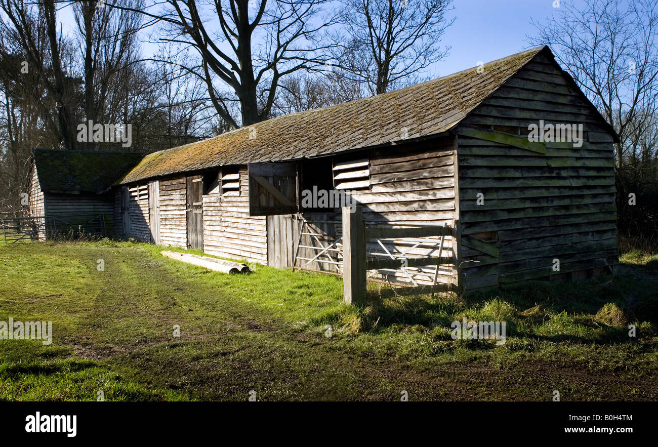 An delelict wooden barn near Medmenham in Buckinghamshire, England. Stock Photo