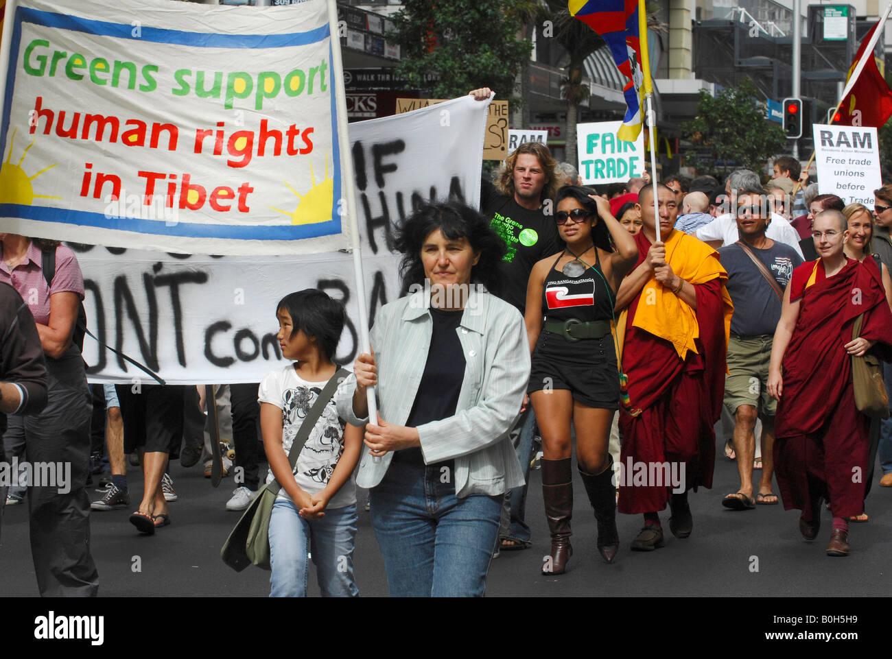 Human Rights Buddhist Free Trade China Tibet Demonstration Stock
