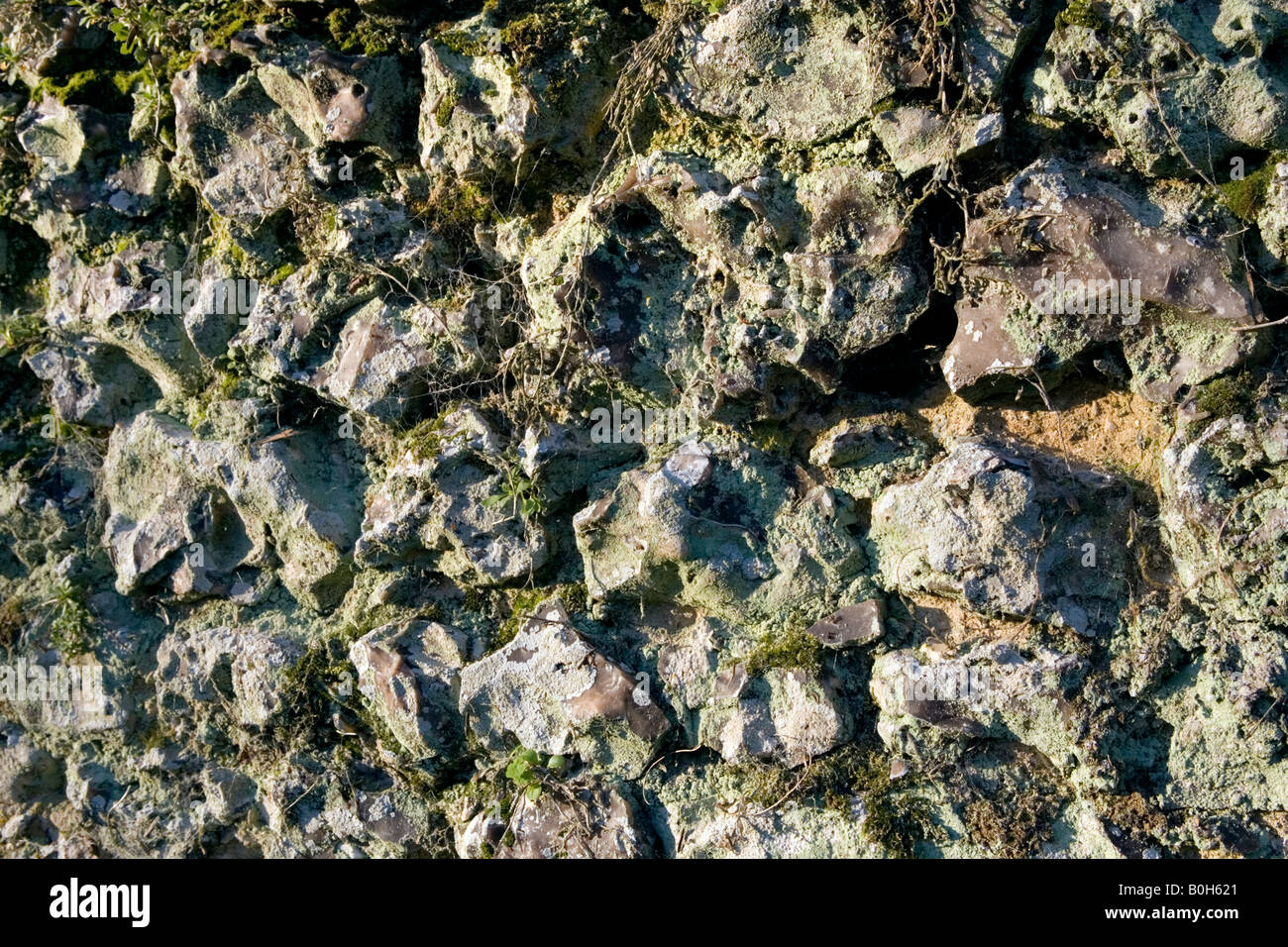 An old moss covered clay brick and flintstone wall in Medmenham, Buckinghamshire, England Stock Photo