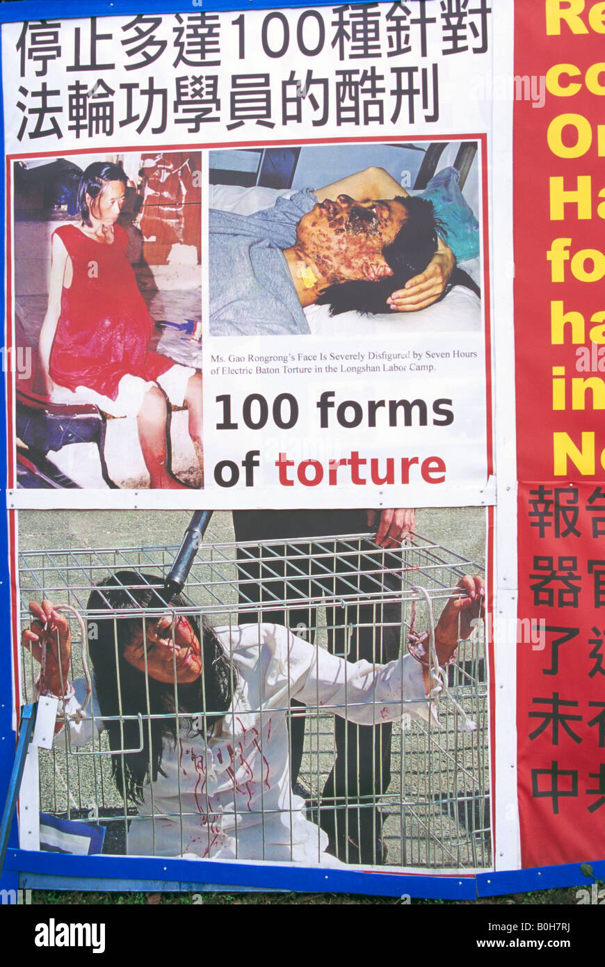 Falun Gong Protest Sign against Torture and Organ Harvesting