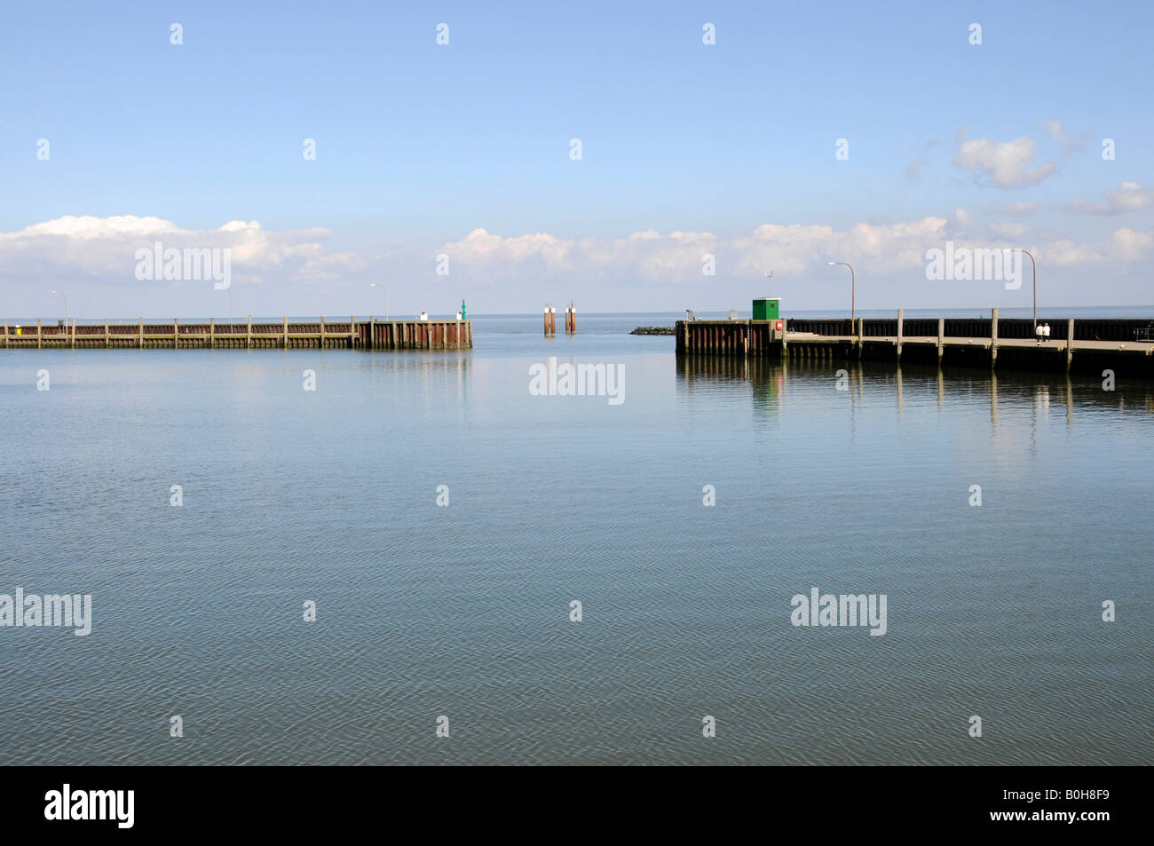 Placid waters at the harbour of Hoernum on the North Frisian island of Sylt, Schleswig-Holstein, Germany - Stock Image