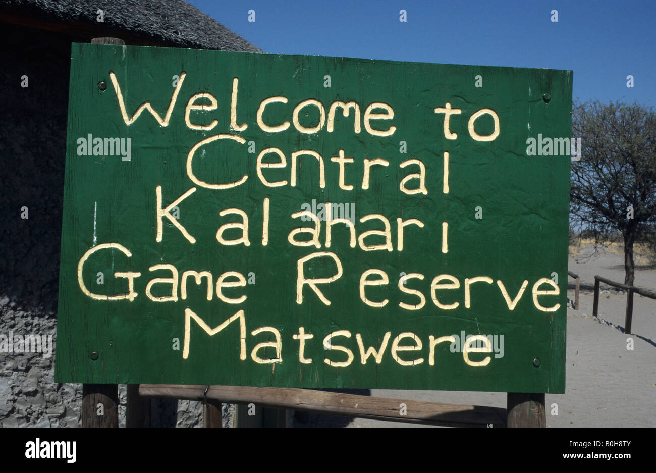 Sign: 'Welcome to Central Kalahari Game Reserve', Central Kalahari Game Reserve, Botswana, Africa - Stock Image