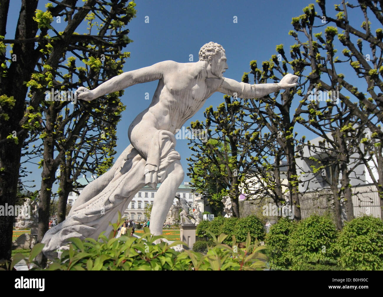 Sculpture by Ottavio Mosto, dated 1690, scene from Greek mythology, Mirabellgarten or Mirabell Gardens, Salzburg, - Stock Image
