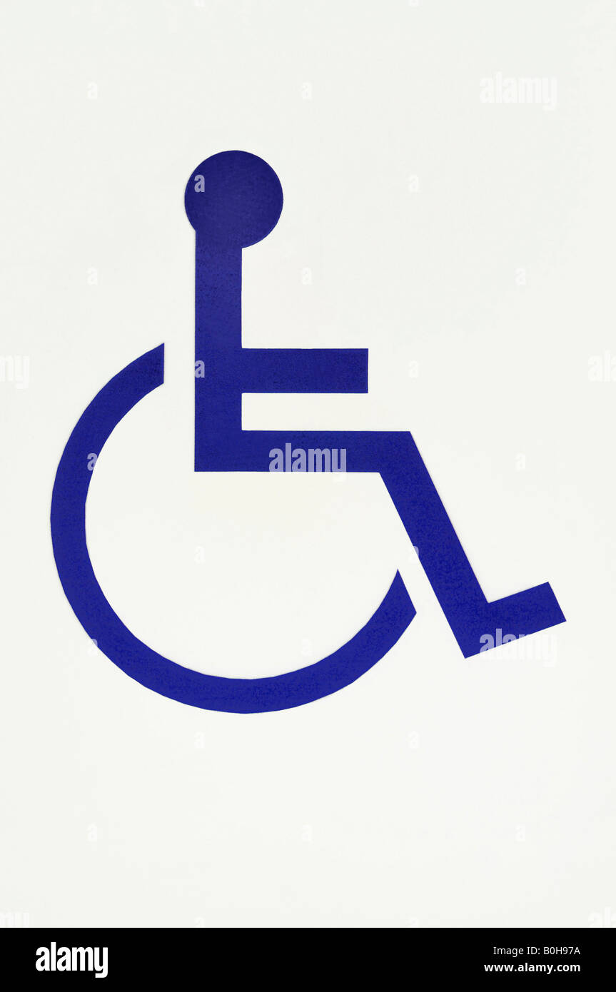 Pictograph of a man in a wheelchair, handicapped symbol - Stock Image