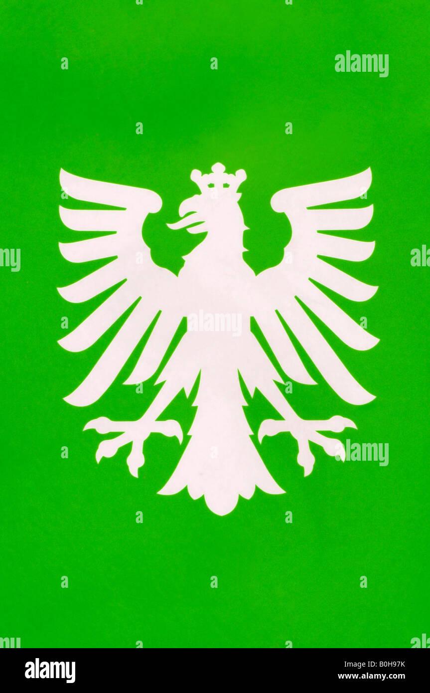 Emblem, coat of arms of Frankfurt, white eagle wearing a crown, Frankfurt, Hesse, Germany - Stock Image