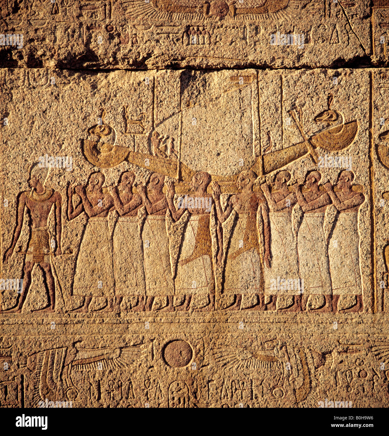 Hieroglyphs, relief depicting Egyptian gods, Luxor, Thebes, Egypt - Stock Image