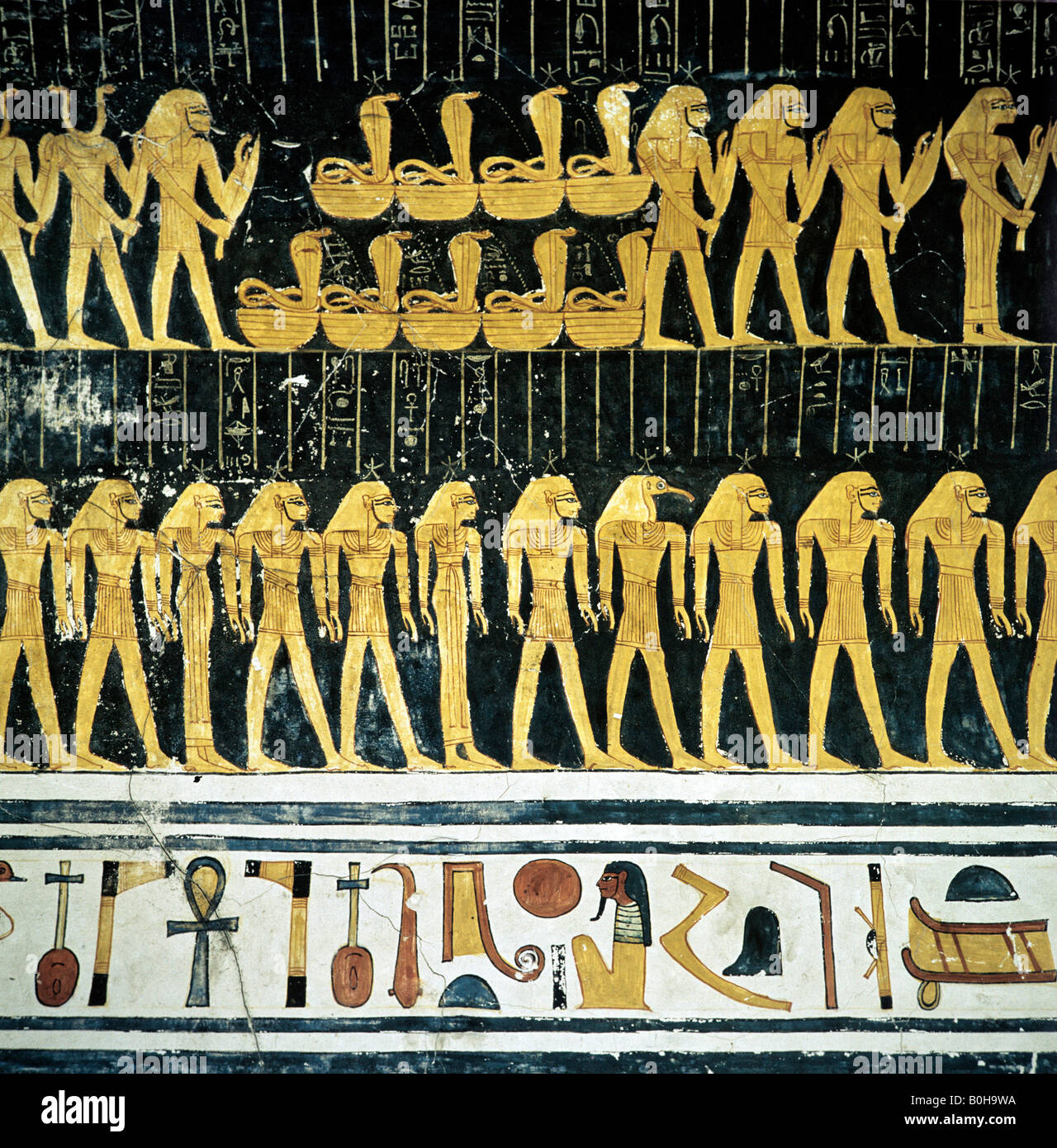Hieroglyphs, grave relief, mural art depicting Egyptian gods, Luxor, Thebes, Egypt - Stock Image