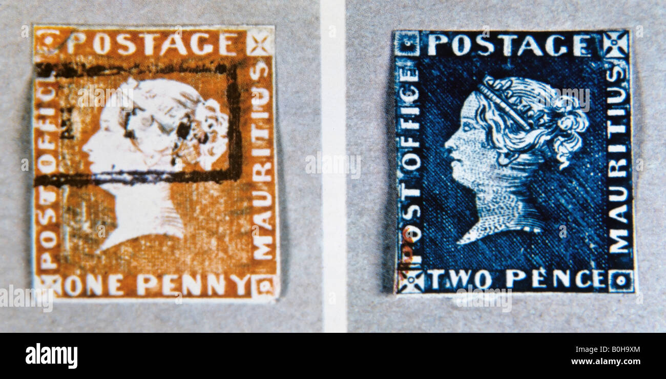 Blue and orange stamps from Mauritius, colonial period, philately, rarity Stock Photo