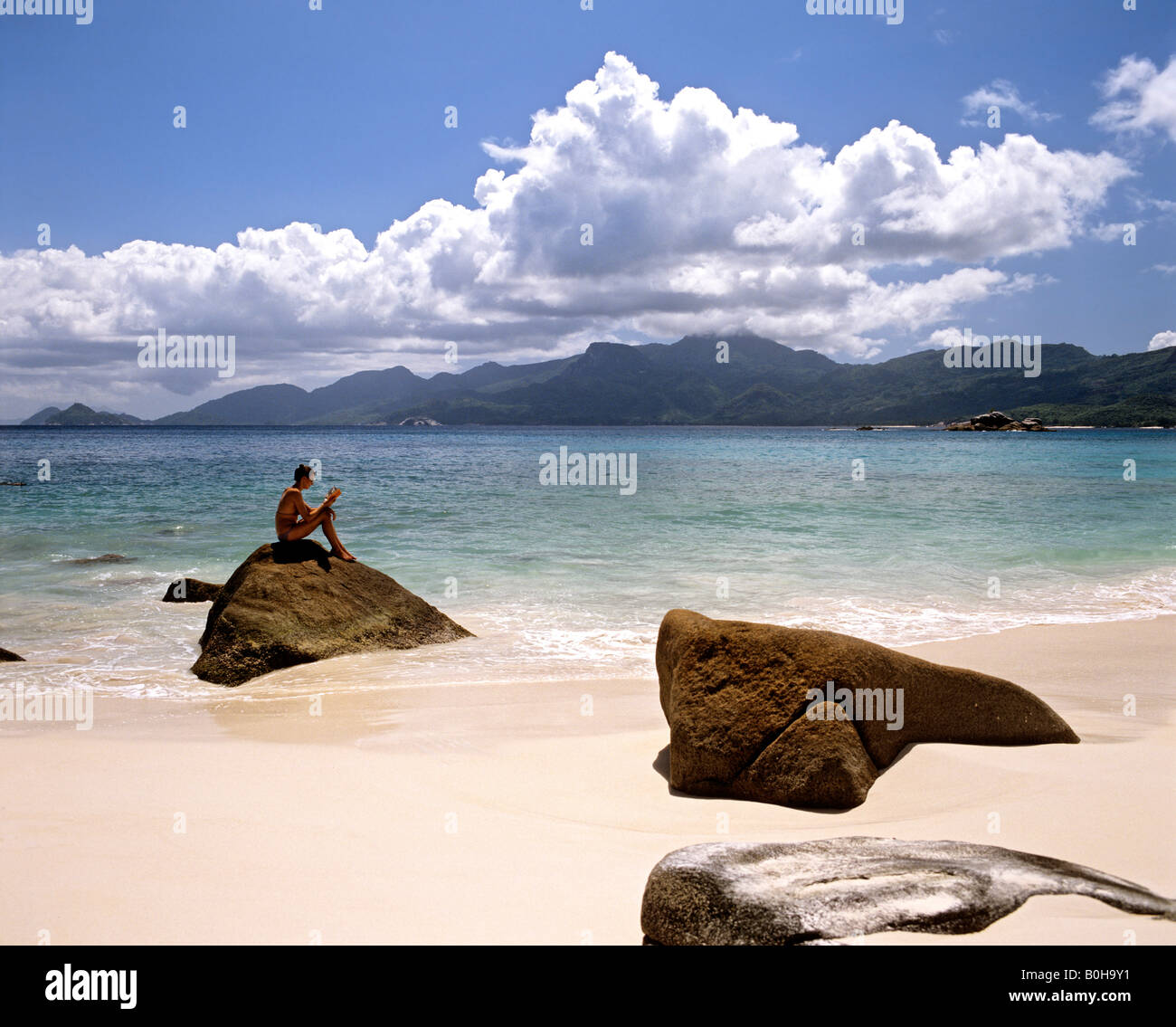 Beach of Mahe, Seychelles, Indian Ocean - Stock Image
