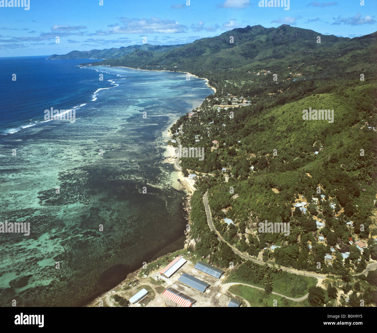 Aerial shot of the southern coast of Mahe, Seychelles, Indian Ocean - Stock Image