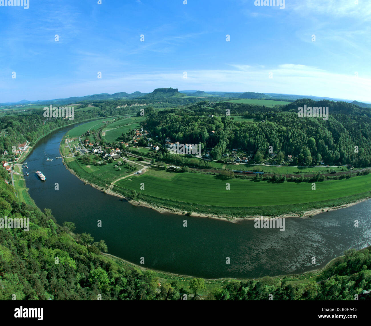 Elbe Sandstone Mountains, bastion, view of Rathen, Oberrathen district, Elbe River, Saxon Switzerland, Saxony, Germany - Stock Image