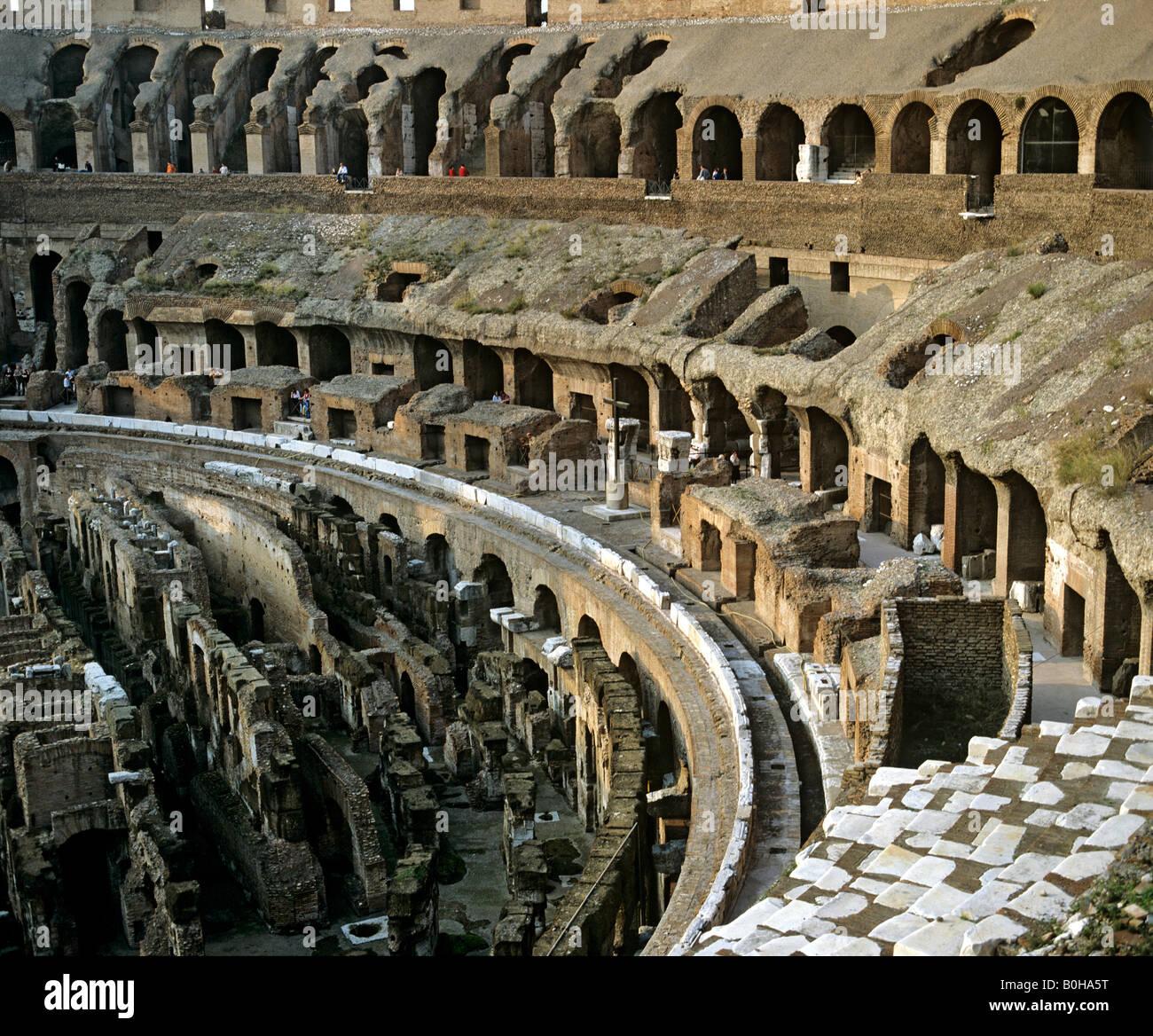 Colosseum, interior, underground structure, hypogeum, amphitheatre, Rome, Italy - Stock Image