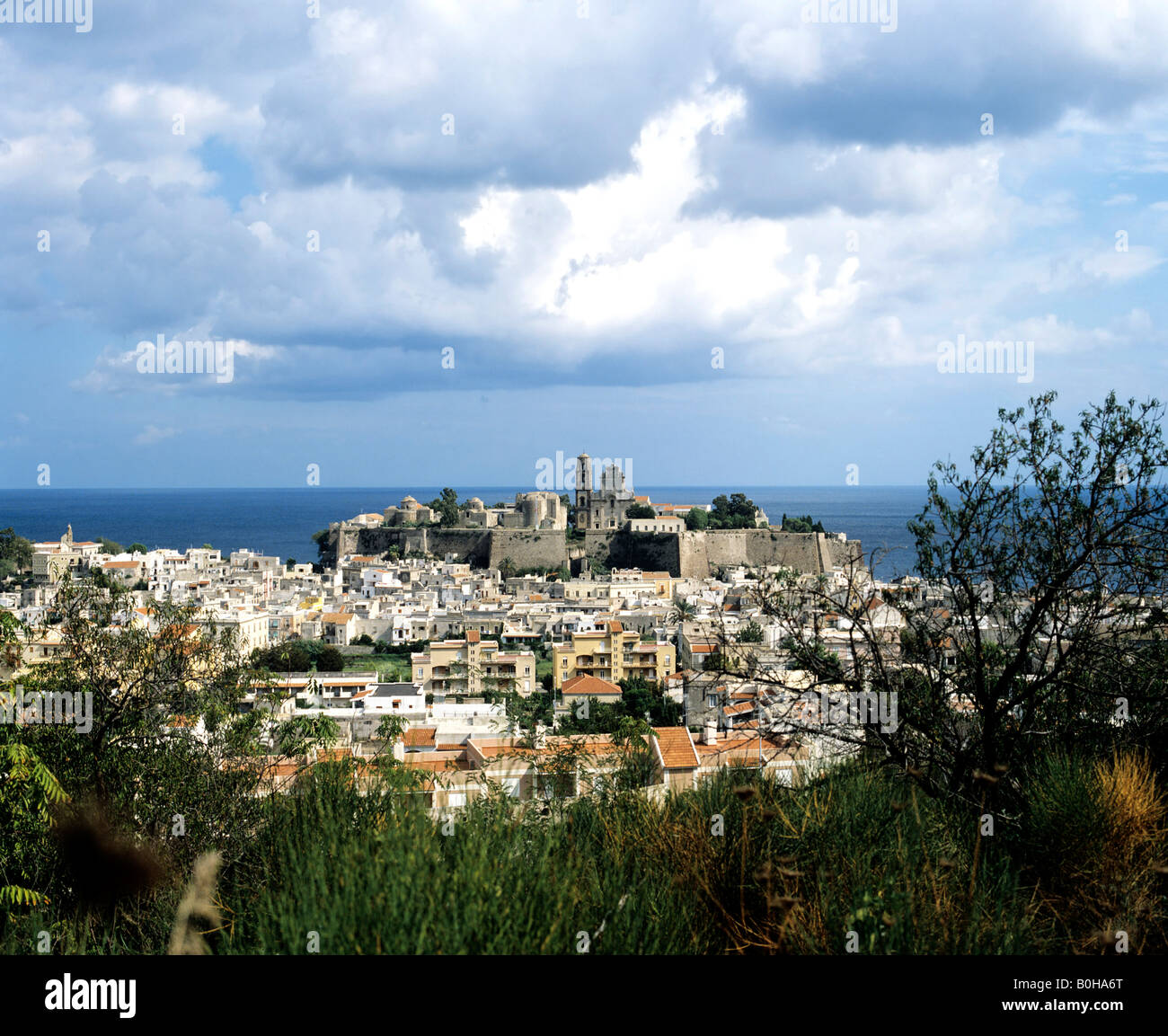 Lipari castle hill, Aeolian Islands, Sicily, Italy - Stock Image