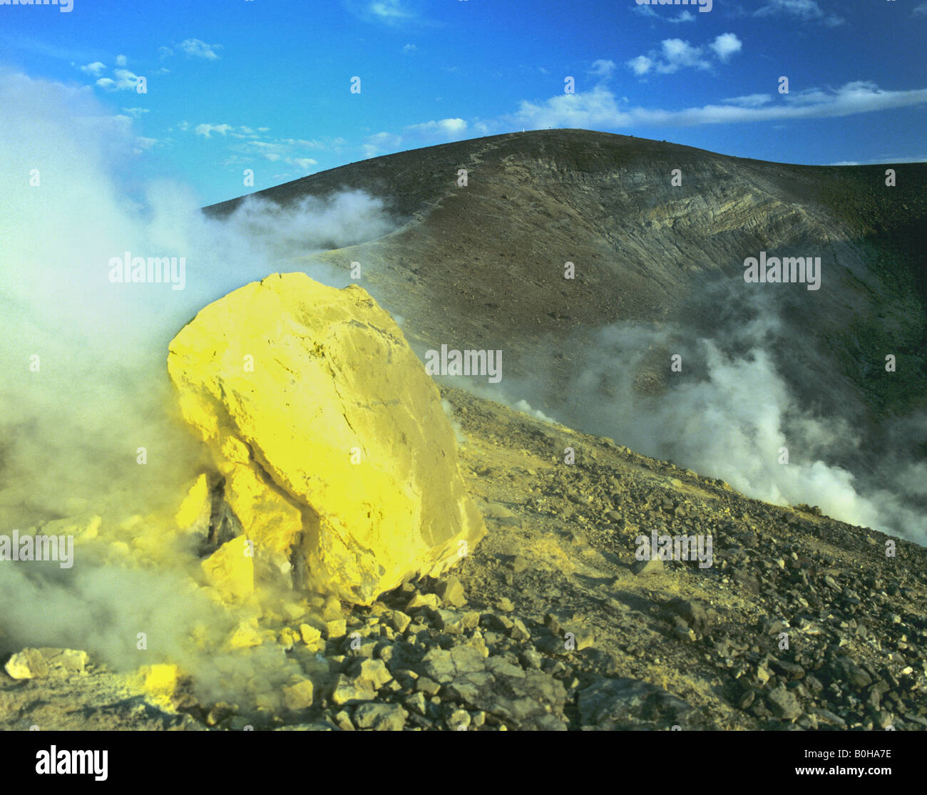 Volcano, volcanic crater, Aeolian Islands, Sicily, Italy - Stock Image